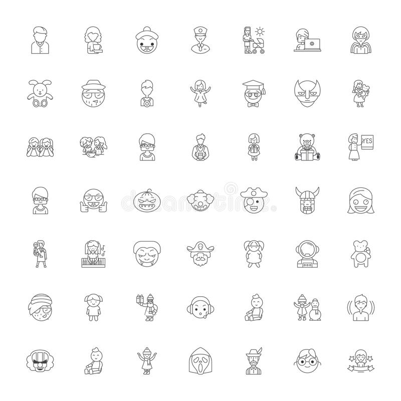 People characters linear icons, signs, symbols vector line illustration set 向量例证