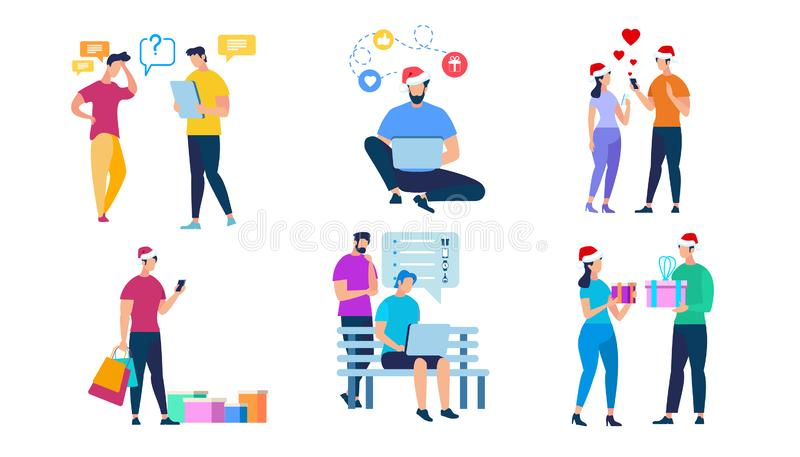 Holiday Shopping, People Characters in Santa Hats. People Characters in Santa Claus Hats isolated on White Background. Holiday Shopping, Couple Giving Gifts royalty free illustration