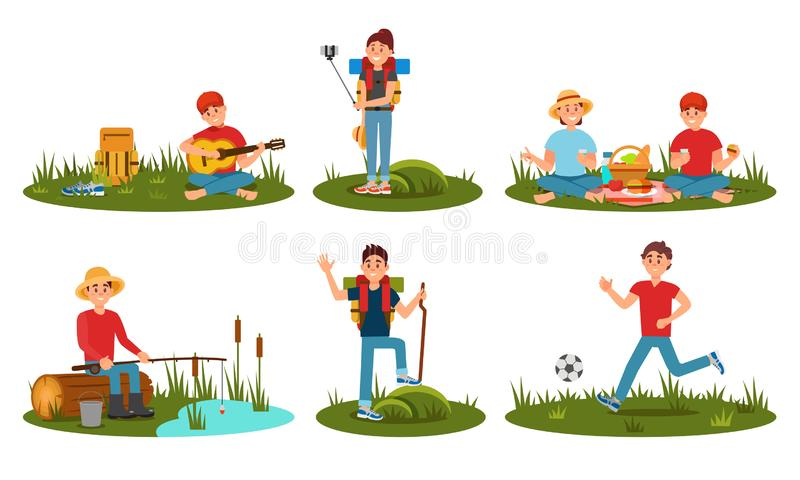 People Characters Spending Time At Summer Camp In Deep Forest. Cartoon Flat Vector Illustration. People Characters Spending Time At Summer Camp In Deep Forest stock illustration