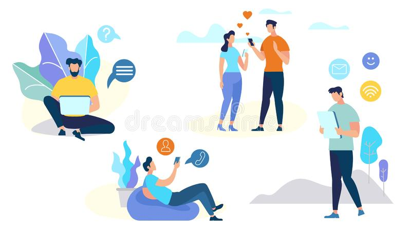 Set of People Characters Talking on Mobile Phone vector illustration