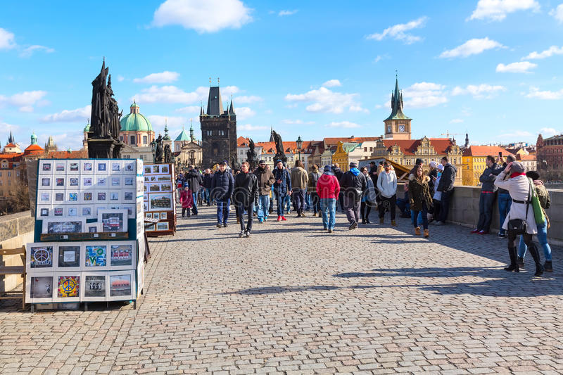 People at Charles Bridge in Prague royalty free stock images