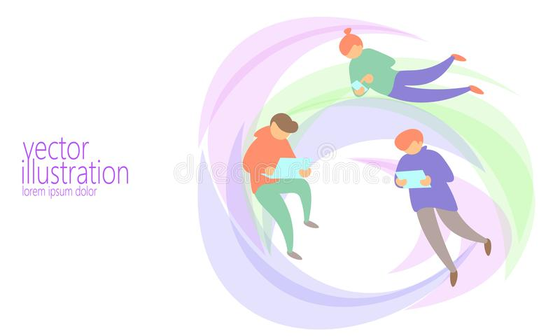 People chat messaging online concept. Diverse man surfing network flying web. Internet discussion tablet mail letters stock illustration