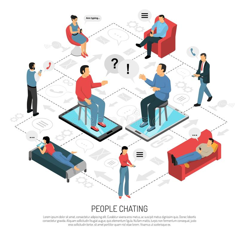 People Chatting Isometric Flowchart Poster. People chatting isometric flowchart background poster with online conversations dating sharing messaging with mobile royalty free illustration
