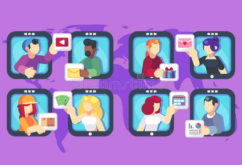 People chatting online together flat poster. Men and women changing messages video data gifts dating and working trading. Online shop internet apps vector flat stock illustration