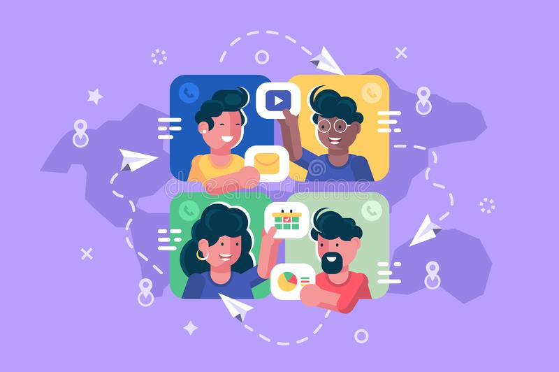 People chatting online together flat poster. Men and women changing messages video data and calling to each other via internet apps vector illustration. Social vector illustration
