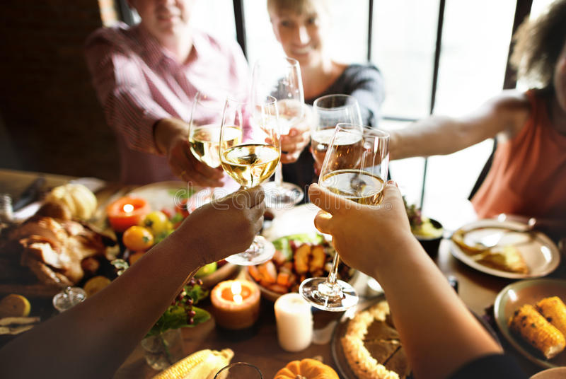 People Cheers Celebrating Thanksgiving Holiday Concept stock image