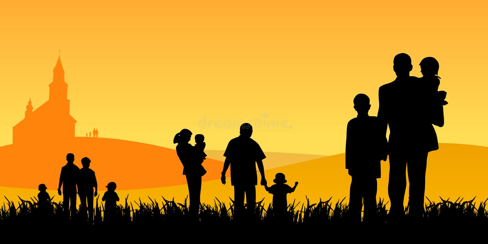 People with children going to church vector illustration