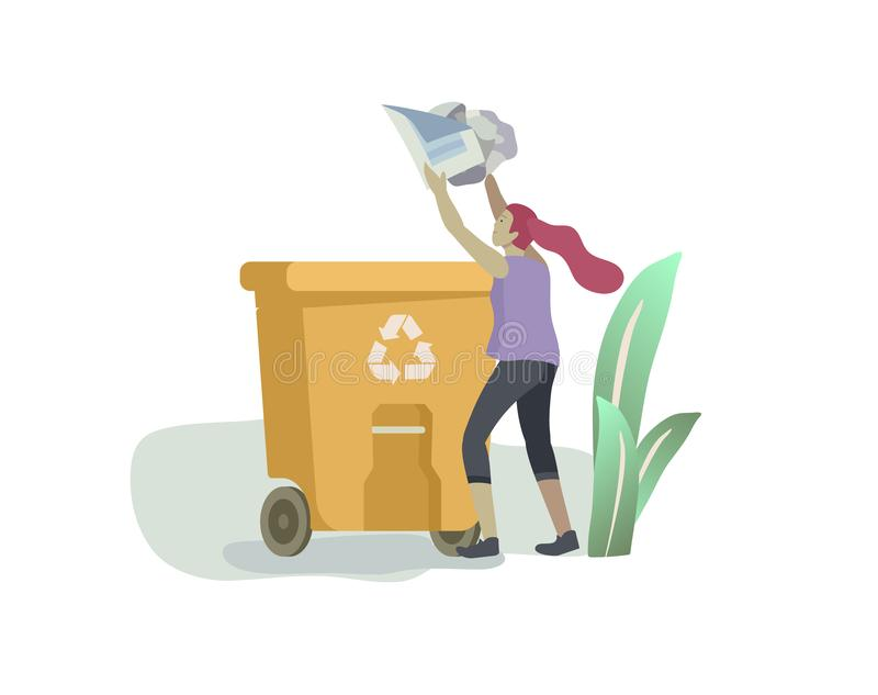 People and children Recycle Sort organic Garbage in different container for Separation to Reduce Environment Pollution royalty free illustration
