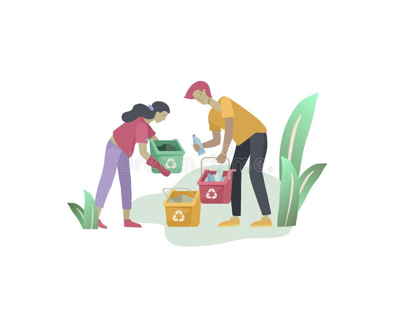 People and children Recycle Sort organic Garbage in different container for Separation to Reduce Environment Pollution stock illustration