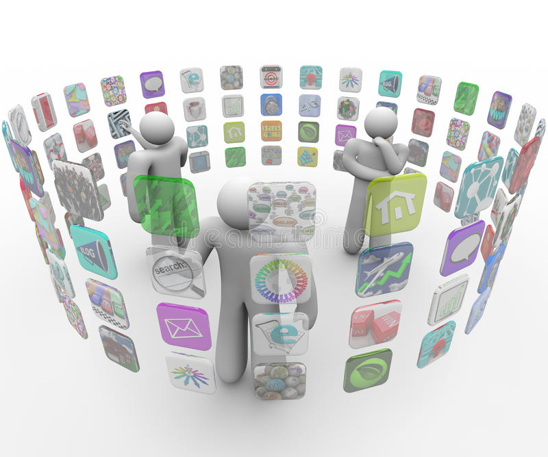 Download People Choose Apps On Projected Touch Screen Walls Stock Image - Image: 17345251