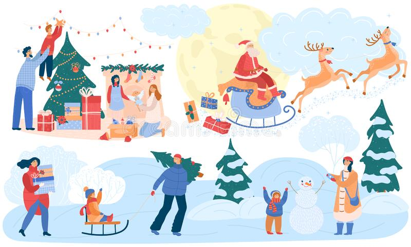 People on christmas vector happy woman and man with kids decorating new year tree to celebrate merry xmas. Illustration royalty free stock photos