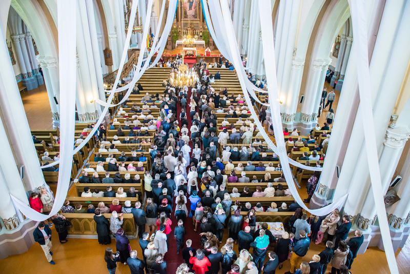 People in church. Crowd of people inside christian church, from above royalty free stock image
