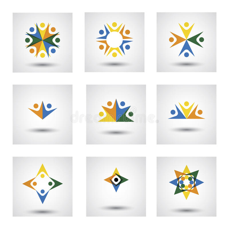 People in circle, community or team of kids, employees vector icons. This graphic illustration also represents unity, teamwork, leadership, leader qualities stock illustration