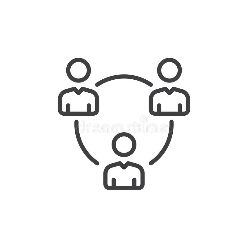 People circle, group of users line icon, outline vector sign, linear style pictogram isolated on white. Symbol, logo illustration. Editable stroke. Pixel royalty free illustration