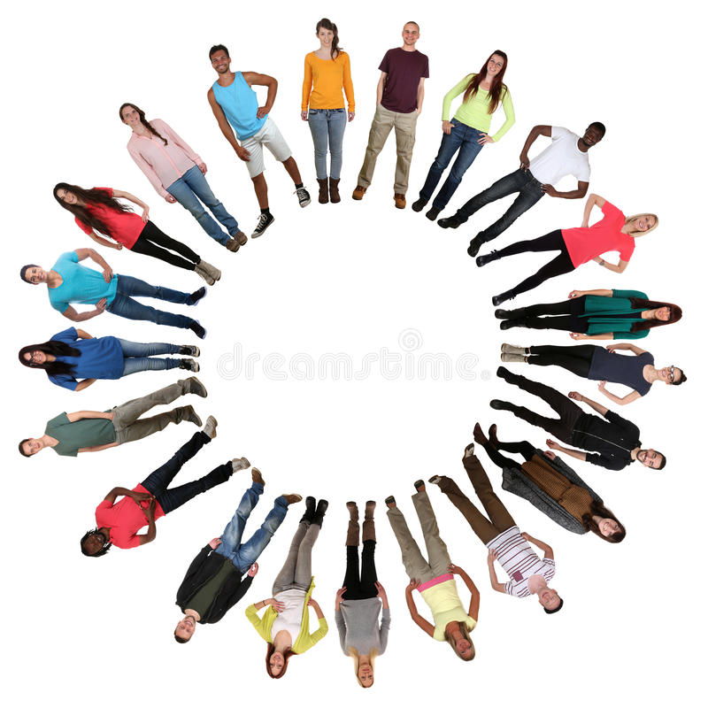 People in circle multicultural multi ethnic group of young stock images