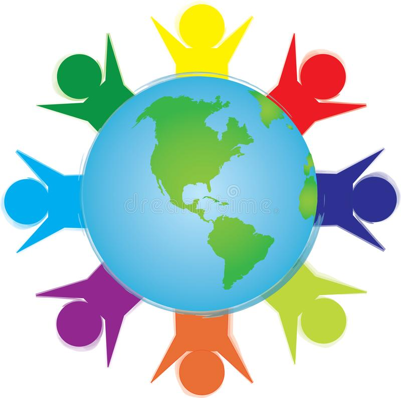 People circling the earth. Bright colored people circling the earth representing multiculturalism royalty free illustration