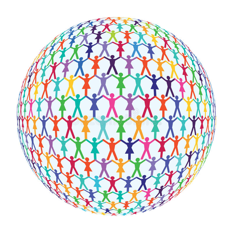 People circling the globe. Colorful silhouettes of men and women with hands joined circling the globe to represent world population on white royalty free illustration