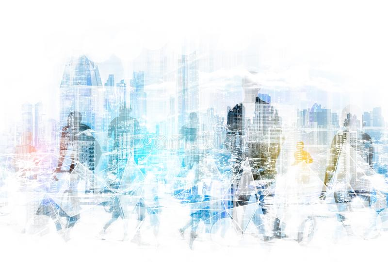 People in the city concept - abstract city skyline and people walking on street double exposure stock image
