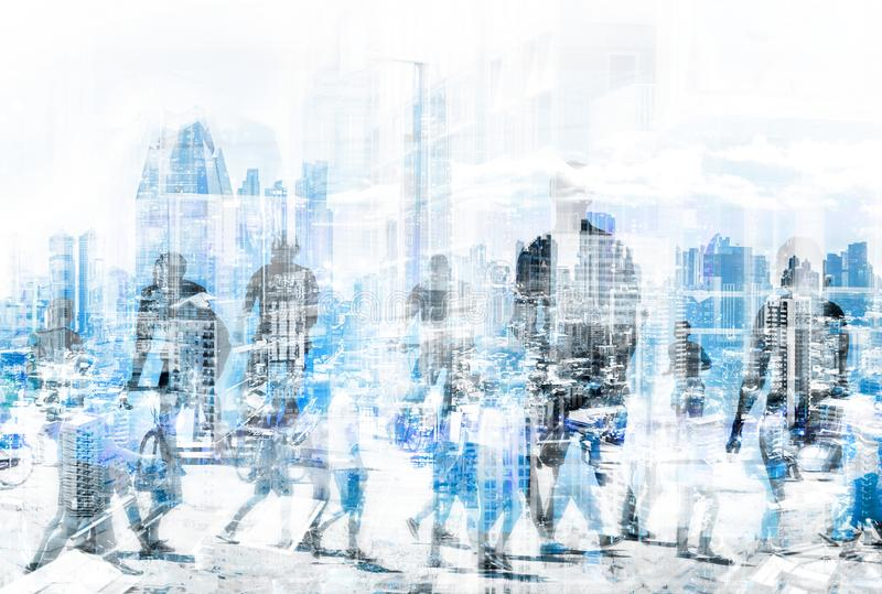 People in the city concept - abstract city skyline and people walking on street double exposure royalty free stock photo