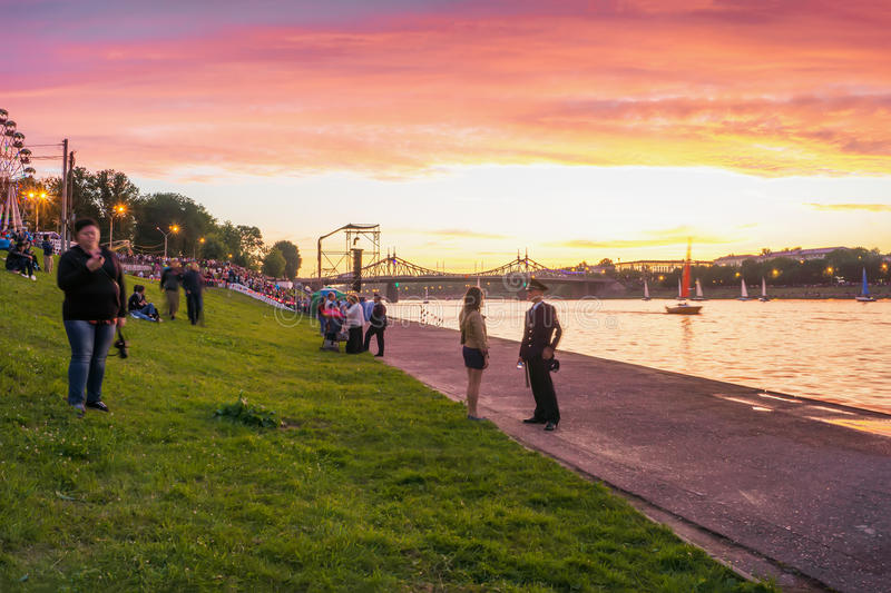 People in the City Day walk on the waterfront Stepan Razin royalty free stock photos