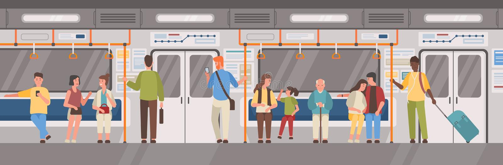 People or city dwellers in metro, subway, tube or underground train car. Men and women in public transport. Male and stock illustration