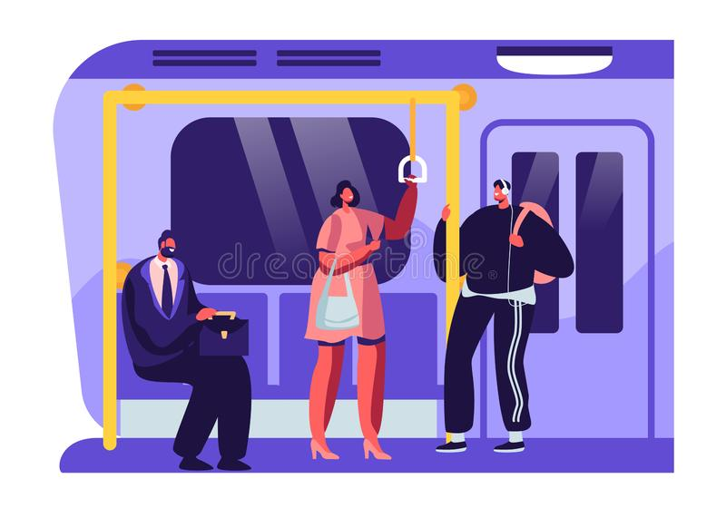 People or City Dwellers in Metro, Subway, Tube or Underground Train. Men and Women Passengers in Public Transport. Male and Female Characters Using Rapid stock illustration