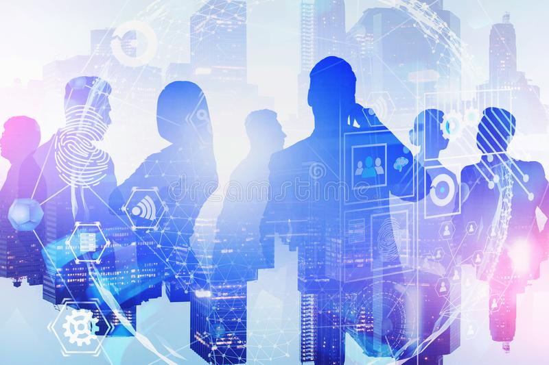 People in city, global internet interface. Silhouettes of business people in night city with double exposure of global business interface. Concept of hi tech and royalty free stock photos