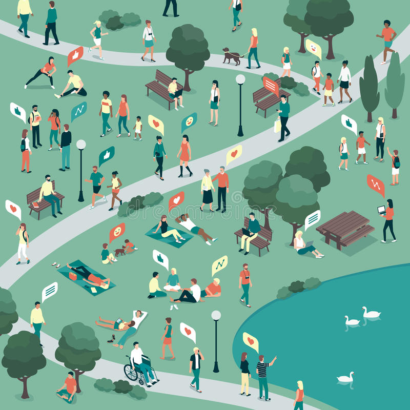 People In A City Park Stock Vector. Illustration Of City
