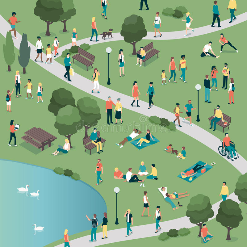 People at the city park. People gathering in the city urban park and relaxing in nature together, community and lifestyle concept