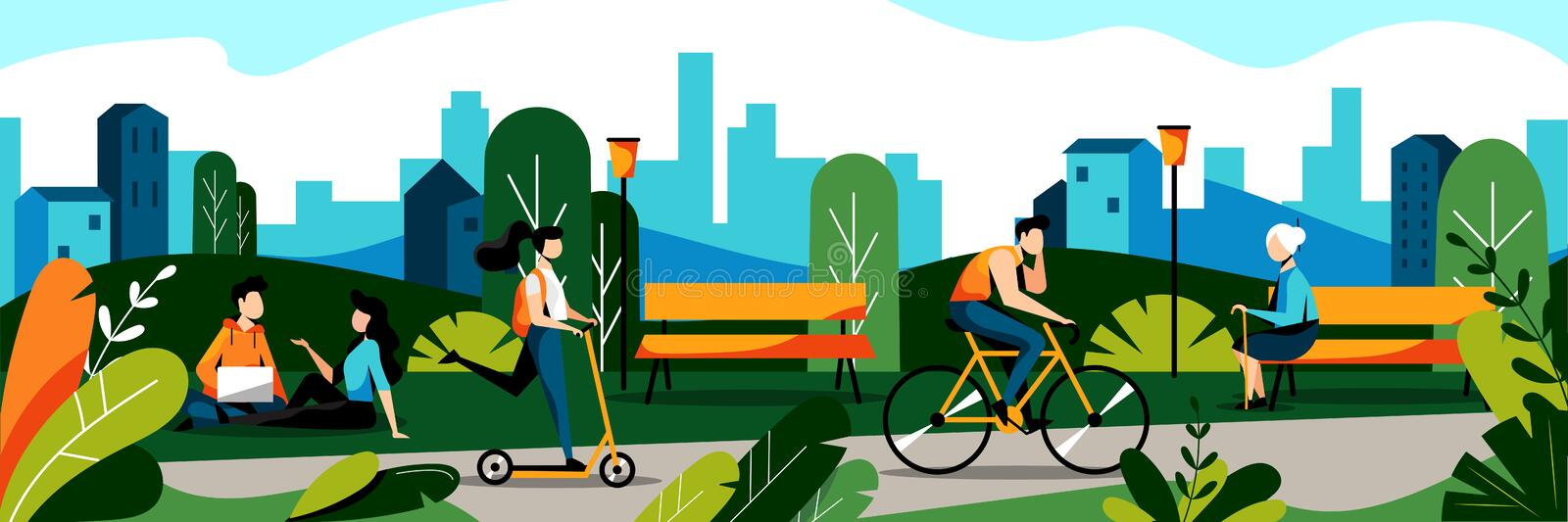 People in city park. Vector flat illustration. Spring and summer weekend leisure activity concept. Nature background stock illustration