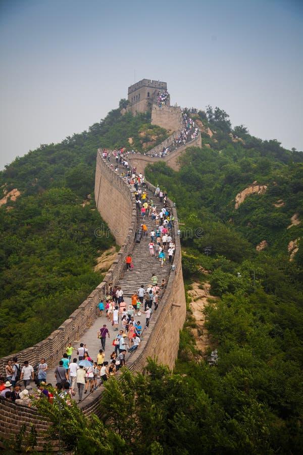 People climb the Great Wall of China, china, 2013 stock image