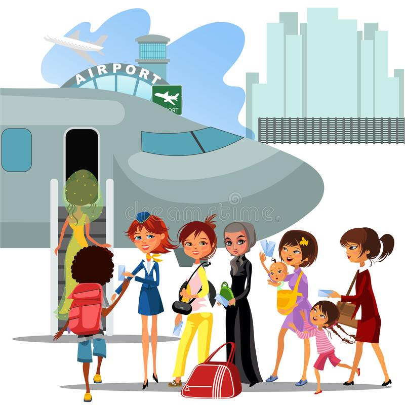 People climb ladder aboard plane, landing men and women on airplane at airport vector illustration, passengers with bags royalty free illustration