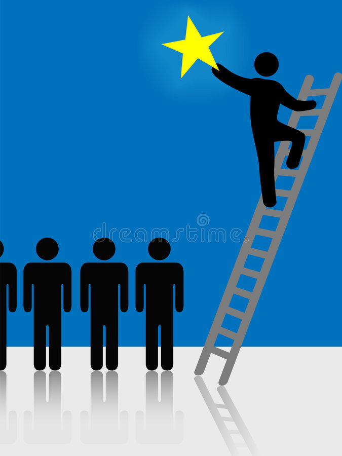 Free People Climb Ladder Rising Star Symbol Stock Image - 3961061