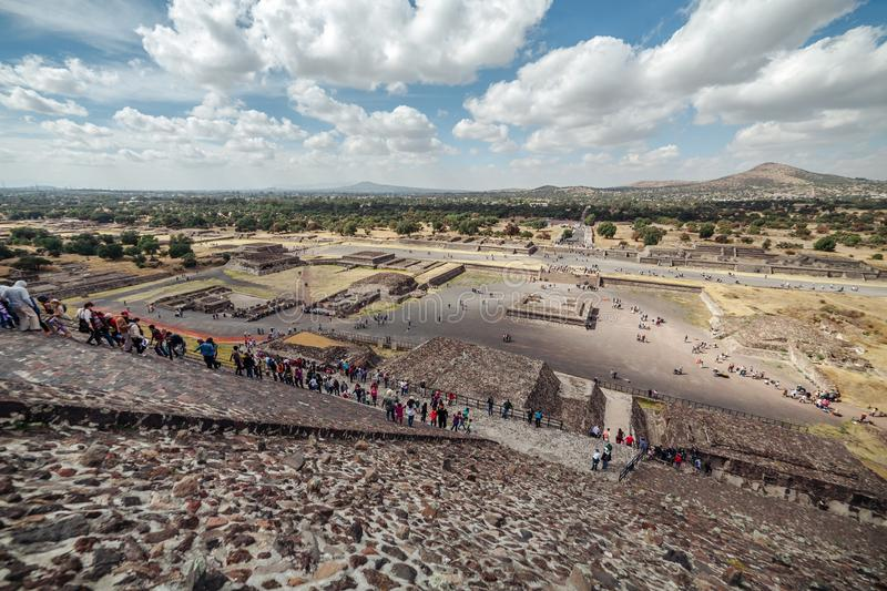 People climb the pyramid of the sun. Teotihuacan. Mexico city stock photo