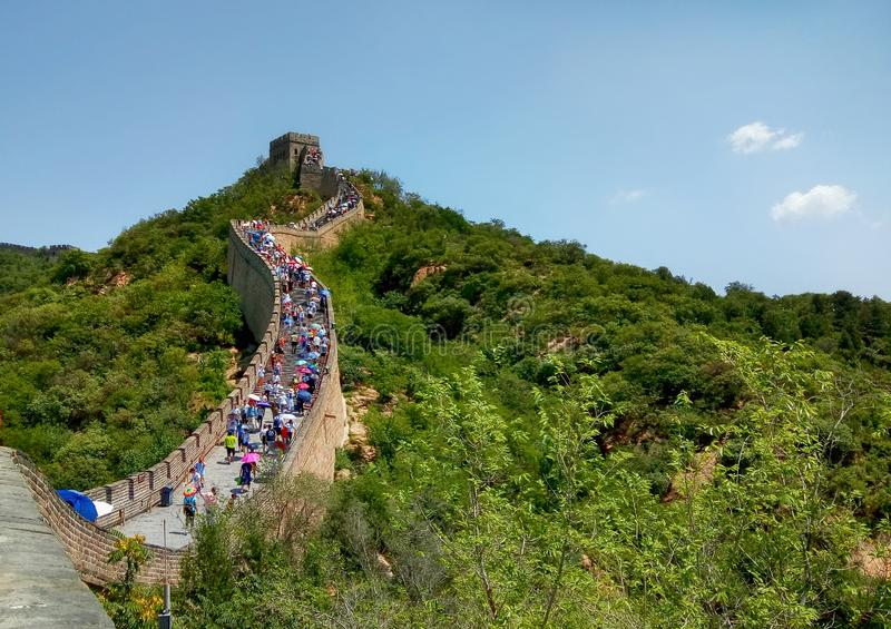 People are climbing the Great Wall in China royalty free stock photography