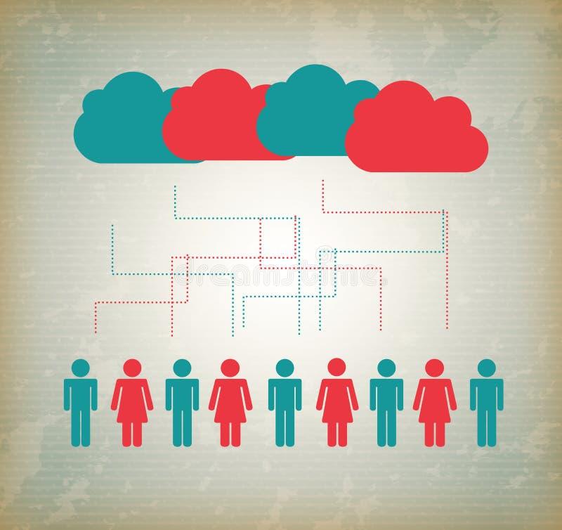 People cloud computing royalty free illustration