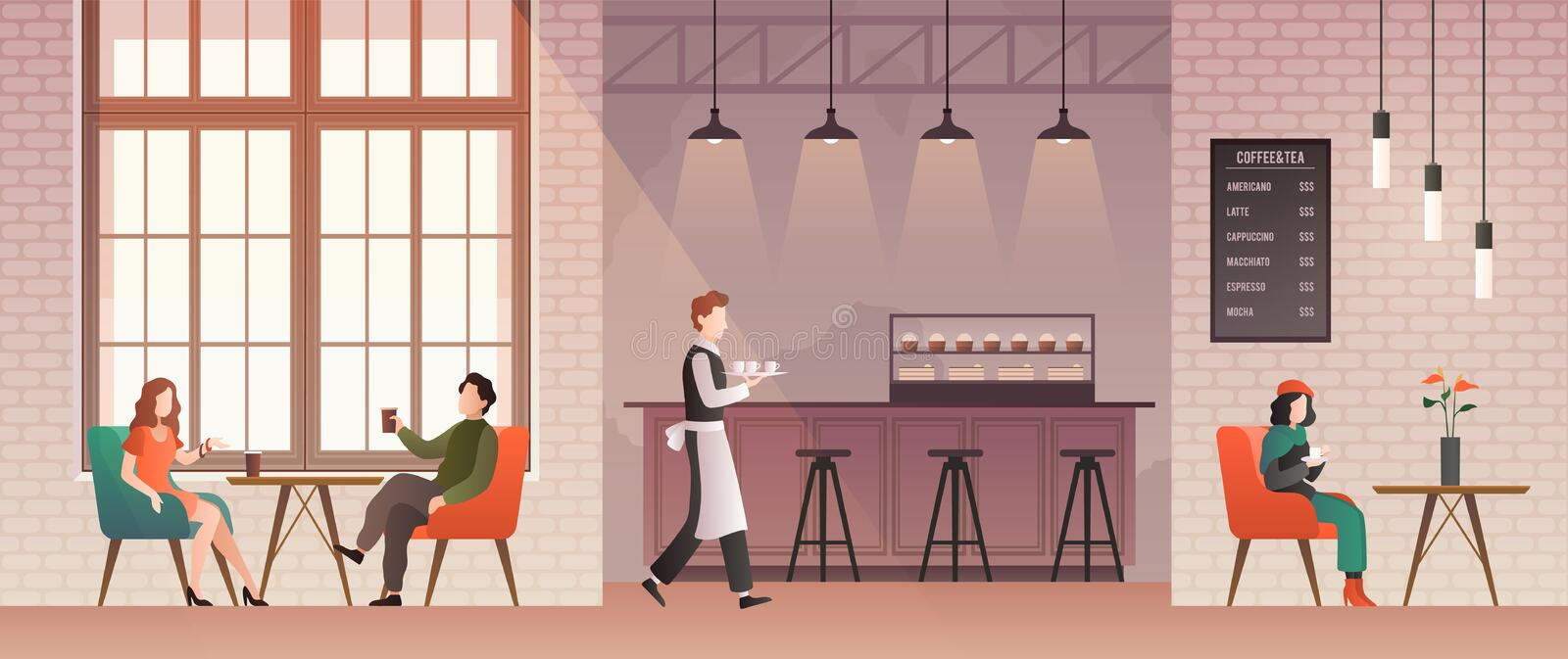 People in coffee shop. Friends meet and drink coffee and relax in coffeehouse. Guys talk with happy barista. Flat vector. Cafe work, cute table bar style stock illustration