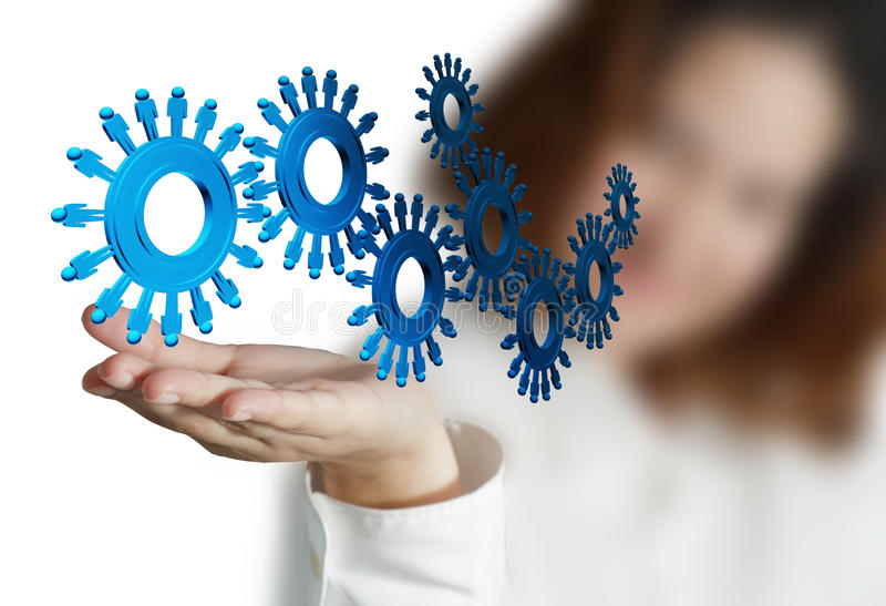People cogs as concept. Businesswoman hand and people cogs as concept royalty free stock photography