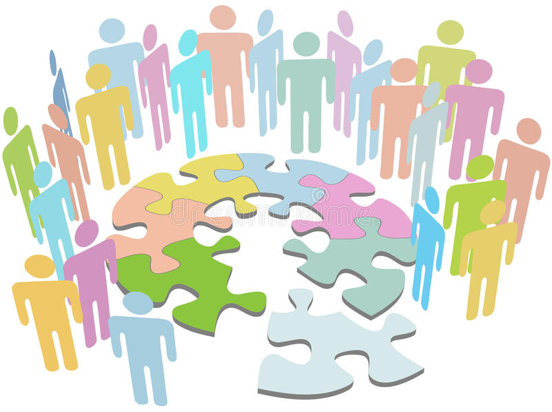 People collaborate find puzzle solution problem. Group of people collaborate to find a solution solve a puzzle problem symbol royalty free illustration