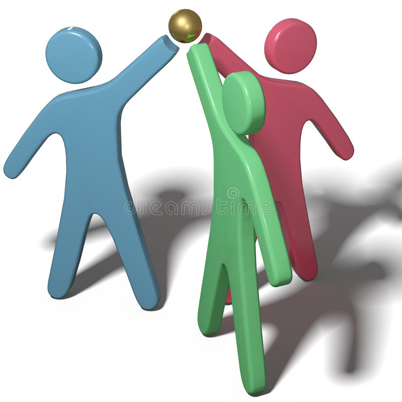 People collaborate join hands teamwork. Three people team up join hands together to collaborate or celebrate with clipping-path royalty free illustration