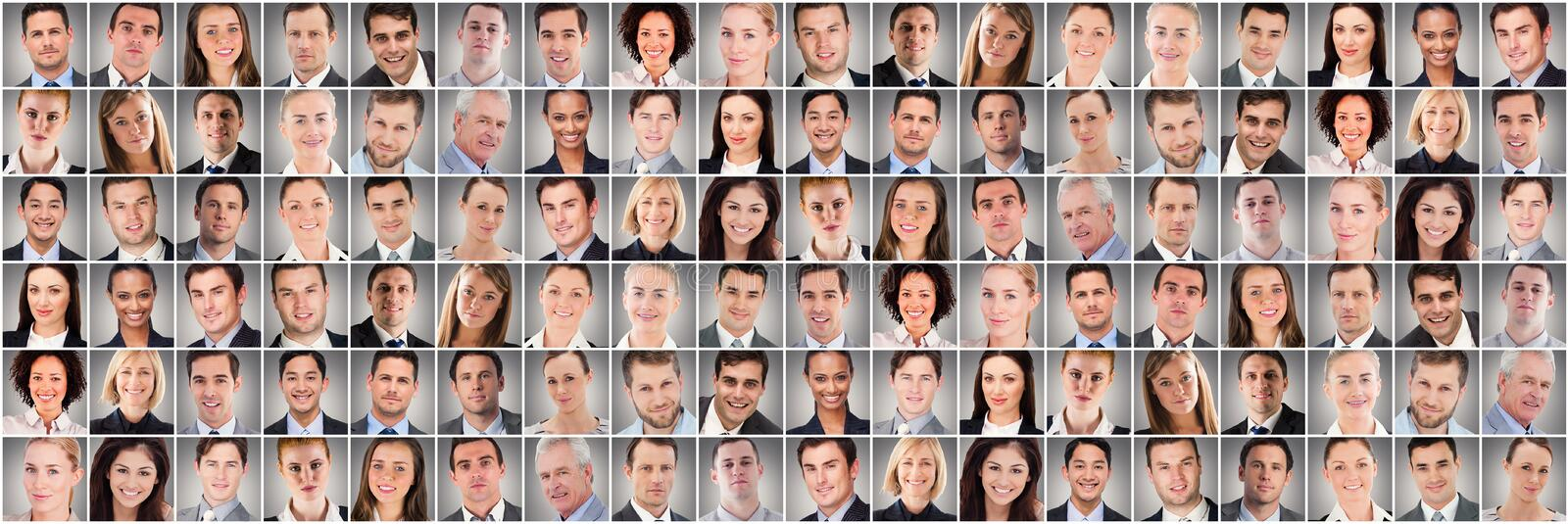 People collage portrait very wide stock photography
