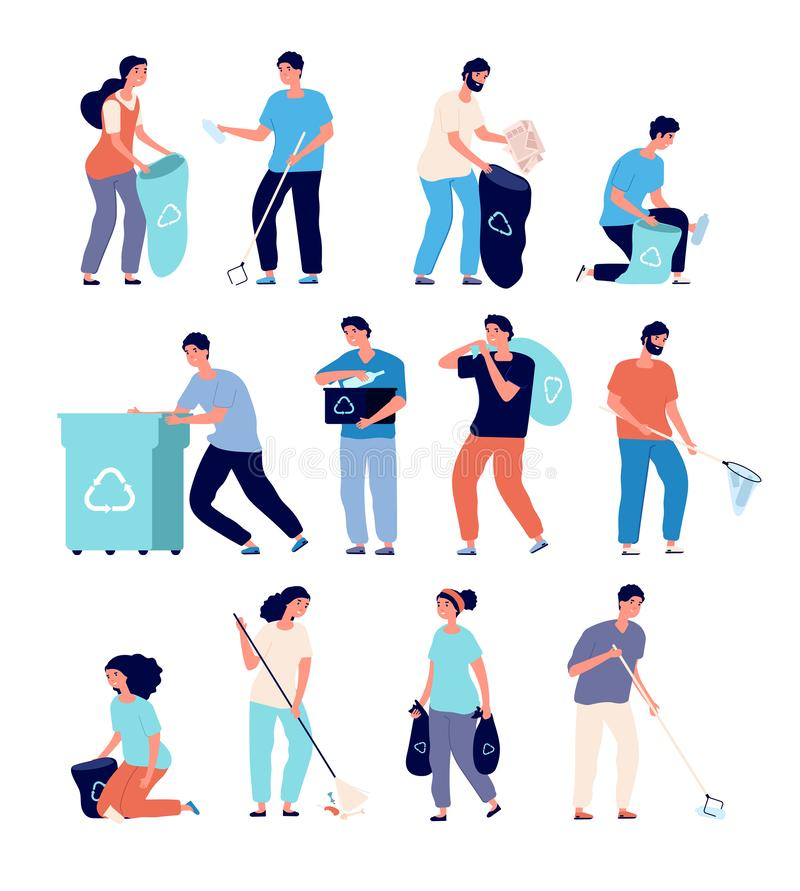 People collect garbage. Men and women cleaning environment nature, persons sorting recyling waste. Environmentalism royalty free illustration