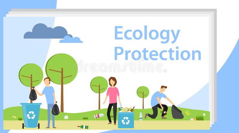 People collect garbage in the park in nature. People collectively collecting garbage. Volunteers collect garbage in vector illustration