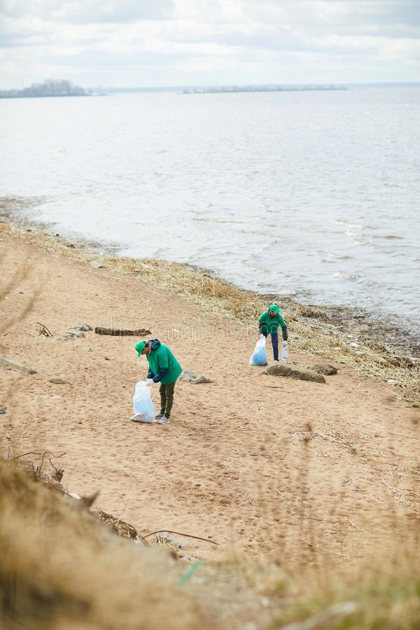 People collecting rubbish on shore royalty free stock images