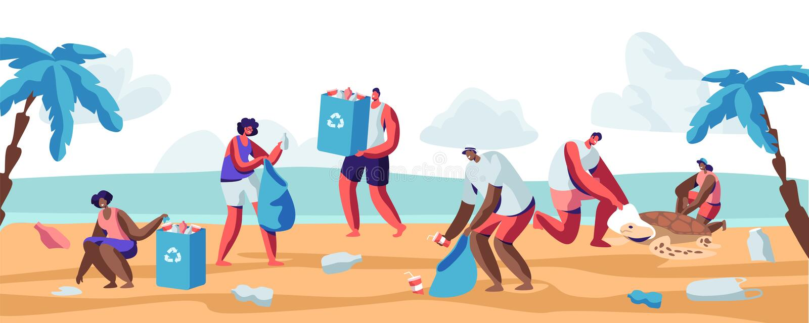 People Collecting Trash into Bags on Beach. Pollution of Seaside with Different Kinds of Garbage. Volunteers Clean Up Wastes. On Ocean Coast. Ecology Protection stock illustration