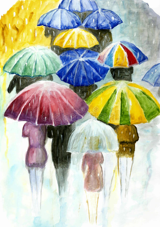 People with colorful umbrellas in the rain . stock photography