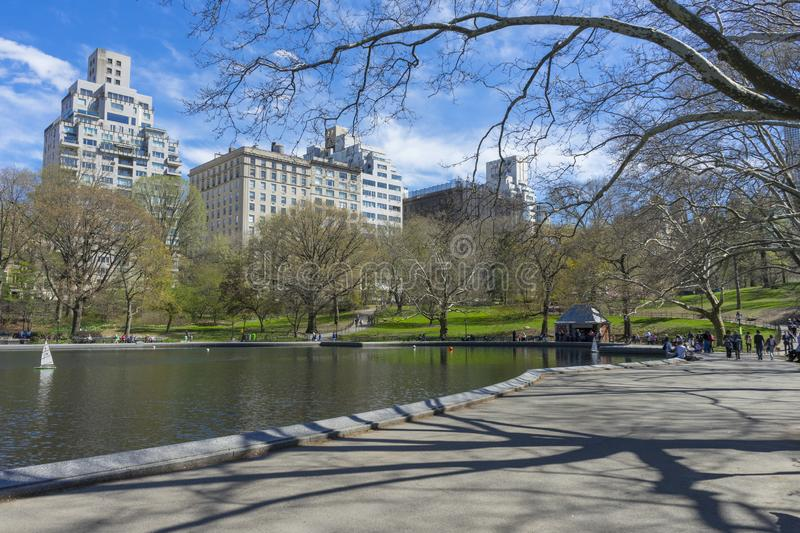 Spring weather at Conservatory Water in Central Park in New York,USA stock photography