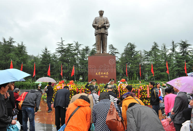 People come to worship former Chinese chairman. SHAOSHAN - OCTOBER 1: crowd of people come to worship former Chinese chairman Mao Zedong on October 1, 2011 in royalty free stock photography