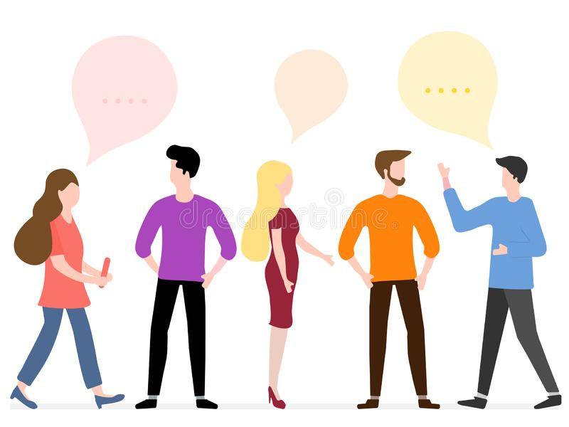 People communicate. Social network. Group chat. Vector illustration with people communicate with each other. Business people discuss and make decisions vector illustration