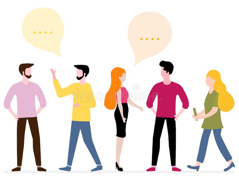 People communicate. Social network. Group chat. Vector illustration with people communicate with each other. Business people discuss and make decisions royalty free illustration